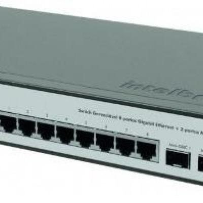 Detalhes do produto SG 1002 MR Switch Gerenciável 8 portas Gigabit Ethernet + 2 portas Mini-GBIC - Intelbras